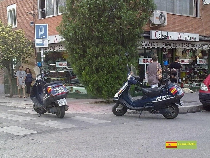 Spanish police motor scooters