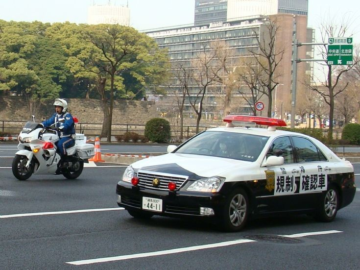 Tokyo Police Department patrol car and bike