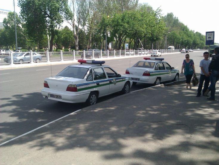 Military police cars in Tashkent, Uzbekistan