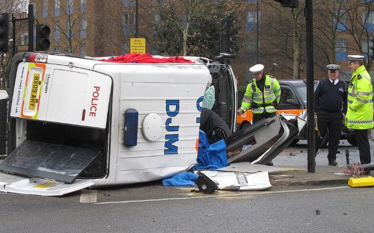 Ford Transit overturned